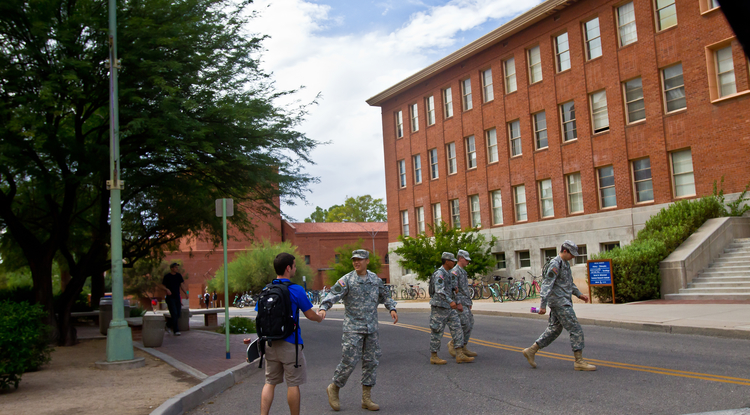 The UA has been connected to the military through training programs since the 1890s. Today, ROTC staff members at the University support hundreds of students. (Photo credit: University of Arizona RedBar)