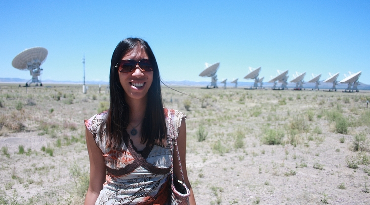Wen-fai Fong at the Very Large Array radio telescope site near Socorro, New Mexico.