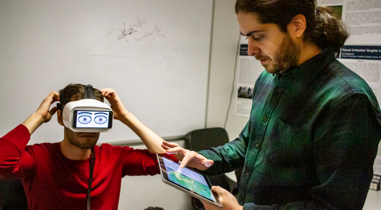 From left: UArizona senior Victor Gomes and assistant professor Ren Bozgeyikli developed the Googly Eyes app, which depicts virtual reality users' eye movements through a set of cartoon eyeballs. (Photo: Kyle Mittan/University Communications)