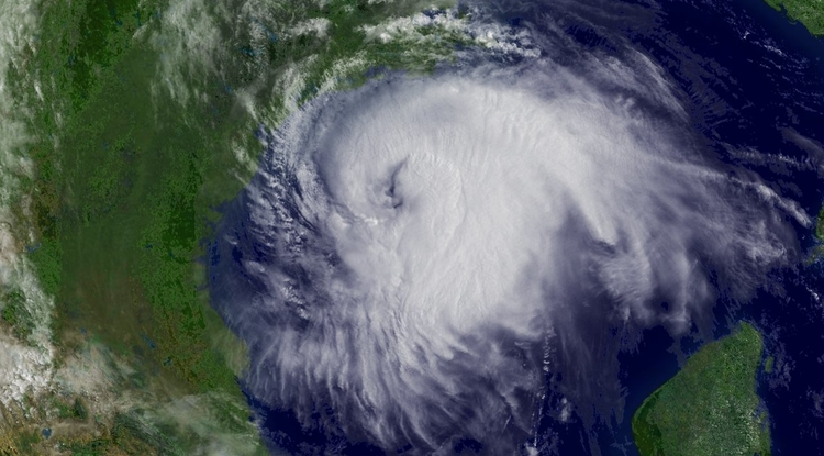 Hurricane Ike approaching the Texas coast, Sept. 12, 2008. (Credit: NOAA Environmental Visualization Laboratory)