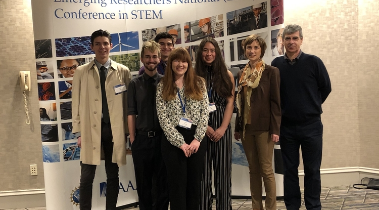 Research Experience and Mentorship students, from left: Allan Chon, Trevor Lata, Justin Palacios, Rachel Gorelik and Emily English with two of their mentors, Kasi Kiehlbaugh and Pierre Deymier.