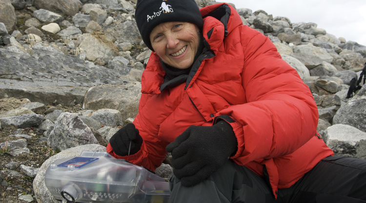 "Professor Linda Powers, shown here with one of her instruments in the Arctic, is taking her portable technology to a new level: diagnostics, checking blood for disease. Powers credits UA College of Engineering Dean Goldberg with making the research contract happen. ""What an incredible extension of a hand of friendship to small businesses in the Valley,"" she said."
