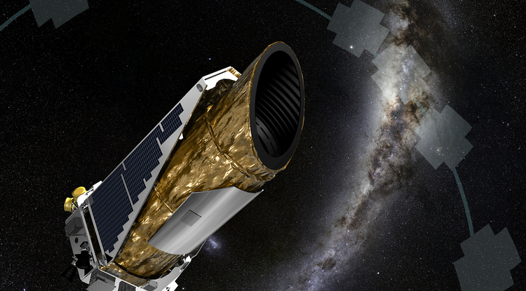 This artistic impression shows NASA's planet-hunting Kepler spacecraft operating in a new mission profile called K2. By analyzing data captured by the Kepler spacecraft, a UA-led team of researchers has discovered three new Earth-size planets orbiting a star only 150 light-years from our sun. (Credit: NASA Ames/JPL-Caltech/T Pyle)