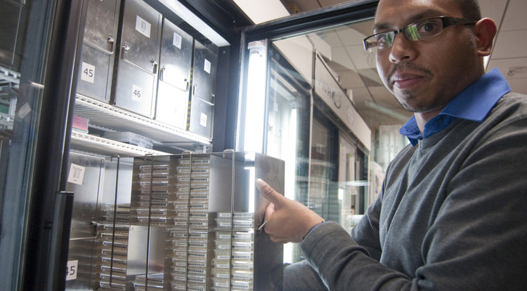 Krishna Veeramah, the study's first author, and his colleagues took advantage of the high-throughput DNA sequencing capabilities offered by the UA Genetics Core, housed at the UA BIO5 Institute. (Photo by Patrick McArdle/UANews)