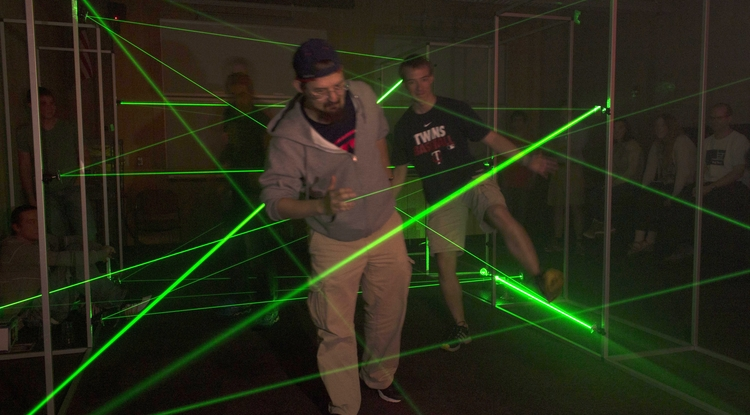 The flashiest draw of the show, the laser maze is a complex network of lasers in an otherwise pitch-black room through which visitors are required to navigate. (Photo: Benjamin Cromey)