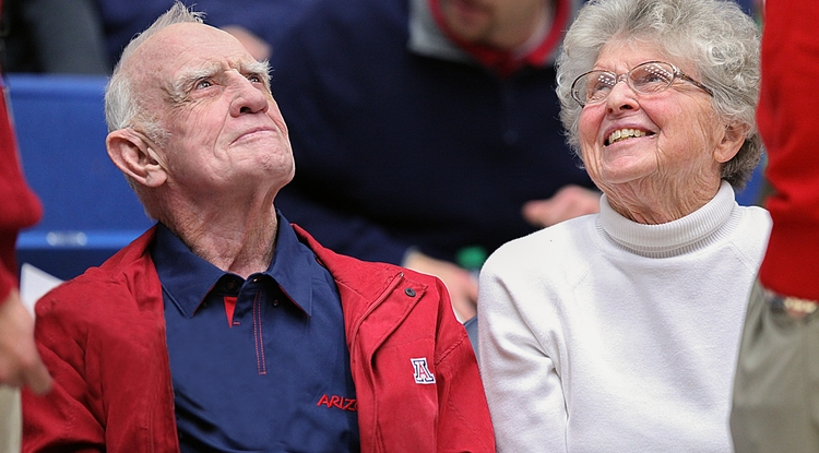 J. David Lowell and his wife, Edith, at a Wildcats basketball game.