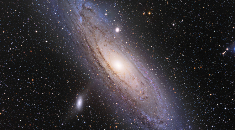 Our Milky Way's largest neighbor, the Andromeda Galaxy, spans about 220,000 light-years across. Two of its dwarf satellite galaxies, Messier 110 (bottom left) and Messier 32 (above Andromeda's central bulge), are visible as bright white spots in this image taken by UA astrophotographer Adam Block.