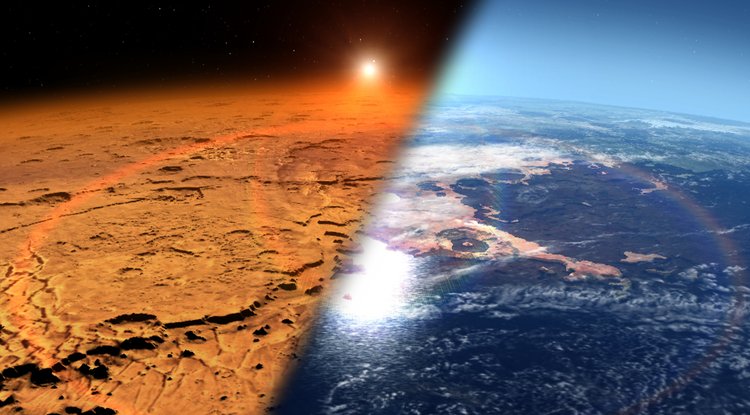 This artist's concept depicts the early Martian environment (right) — believed to contain liquid water and a thicker atmosphere — versus the cold, dry environment seen at Mars today (left). NASA's Mars Atmosphere and Volatile Evolution is in orbit of the Red Planet to study its upper atmosphere, ionosphere and interactions with the sun and solar wind. (Credit: NASA Goddard Space Flight Center)