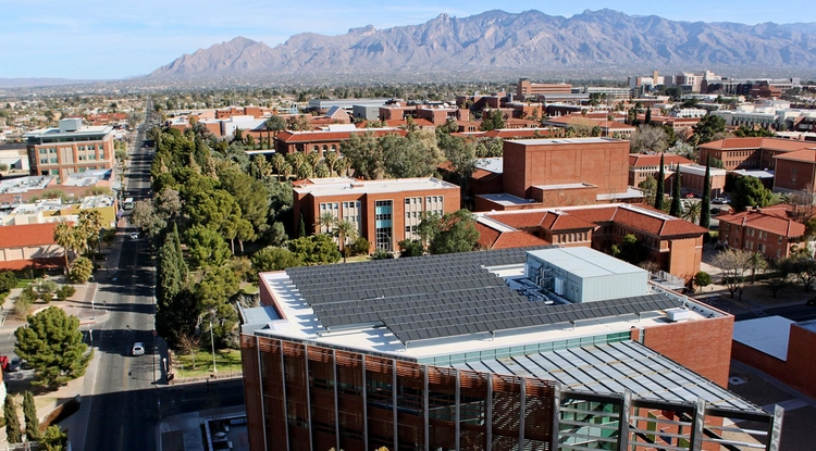 Existing sustainability efforts at the University of Arizona, such as these solar panels on the roof of McClelland Park, will be bolstered by a partnership with Tucson Electric Power that was approved by the Arizona Corporation Commission on Dec. 10.