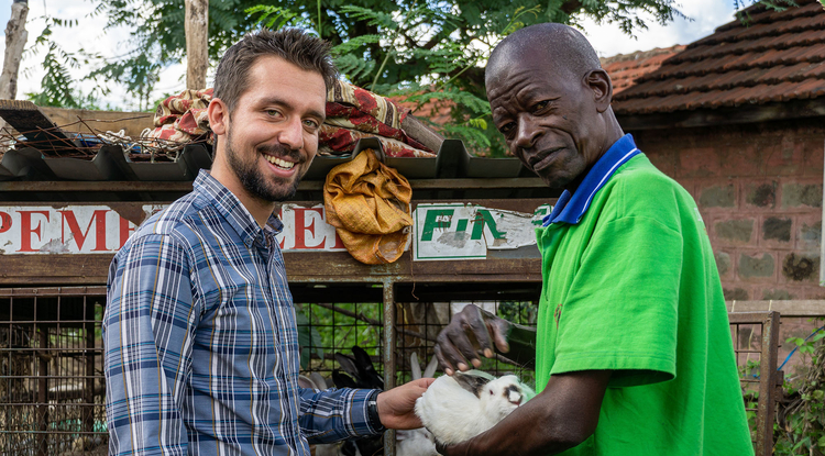Jake Meyers (left) produced a digital story with Francis Wachira (right) who believes urban farming is the key to feeding the future and tackling climate change. (Photo courtesy of Jake Meyers)