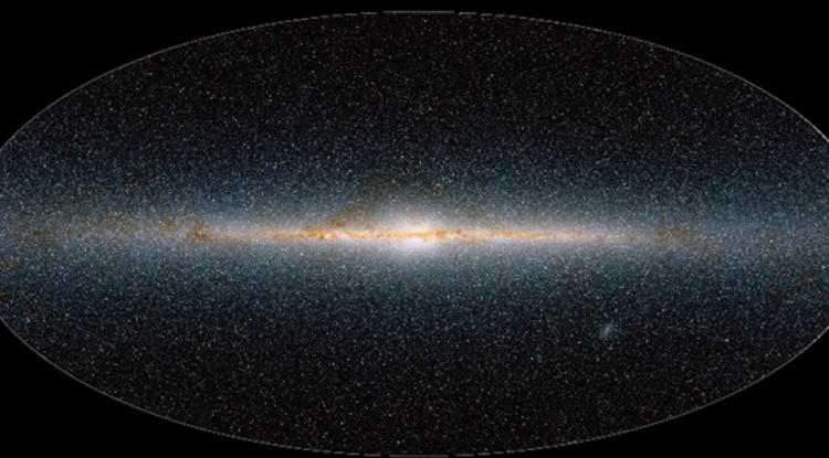 An infrared map of the whole Galaxy showing the plane and bulge of the Galaxy full of stars and dust. APOGEE uses new IR instrumentation to study stars within the disk and is less affected by the extinction from interstellar dust.