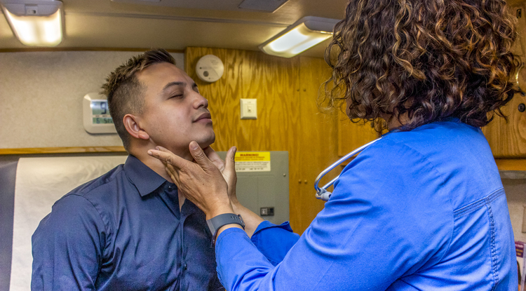 Family nurse practitioner Georgette George providing services at SAAF. (Photo: Patricia Philbin)