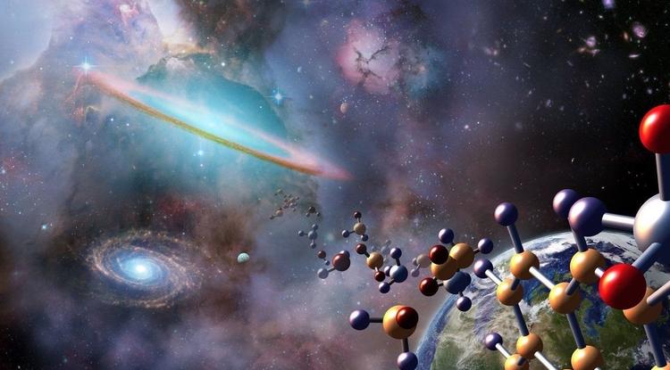 Artist's illustration of complex organic molecules in space. Image: NASA/Jenny Mottar