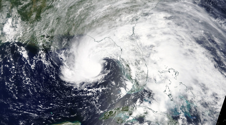 On May 27, NASA's Terra satellite captured an infrared image of subtropical storm Alberto's center of circulation hundreds of miles south of the Florida panhandle. A thick band of thunderstorms east of the center extended over the entire state of Florida. (Photo: NASA)