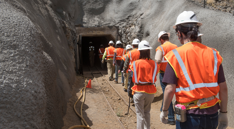 Students enter the University of Arizona San Xavier Mining Laboratory. (Courtesy of UA Lowell Institute for Mineral Resources)