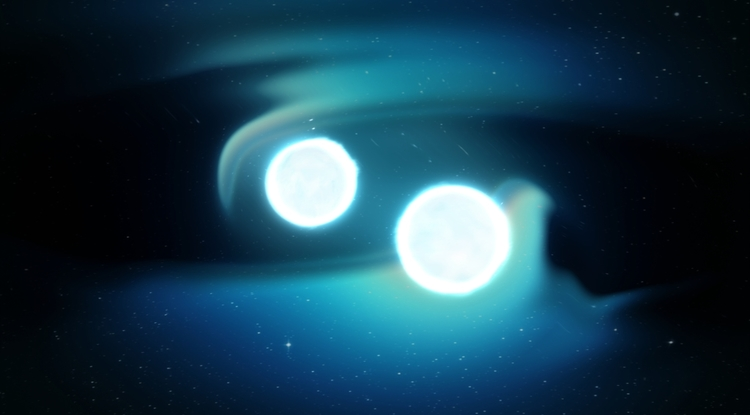An artist's conception of two merging neutron stars creating ripples in space time known as gravitational waves. (Image: NASA)