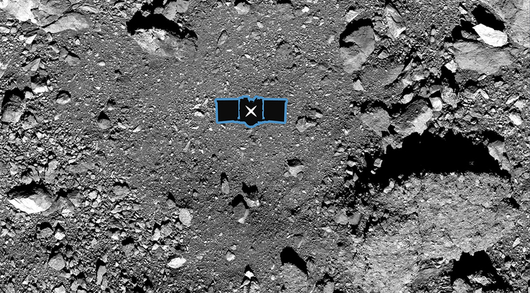 This image shows sample site Nightingale, OSIRIS-REx's primary sample collection site on asteroid Bennu. The image is overlaid with a graphic of the OSIRIS-REx spacecraft to illustrate the scale of the site.(Image: NASA/Goddard/University of Arizona)