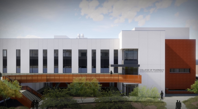 An artist's rendering shows the north-facing side of the renovated Skaggs Pharmaceutical Sciences Center, where the Arizona Center for Drug Discovery will be located. (Image: Shepley Bulfinch and GLHN Architects and Engineers)