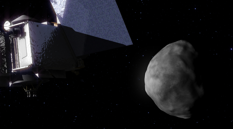 An artist's impression of the OSIRIS-REx spacecraft approaching its target asteroid, Bennu, in 2018. (Image: NASA)