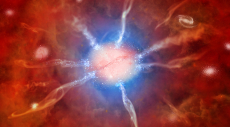 An artist's impression of a galaxy at the center of the Phoenix galaxy cluster.