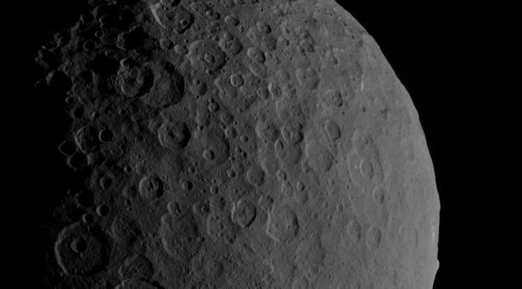 Ceres is a dwarf planet that orbits the sun between Mars and Jupiter. In this image, Ahuna Mons can be seen in the bottom right of Ceres's profile. (Photo: NASA/JPL/Caltech/UCLA/MPS/DLR/IDA)
