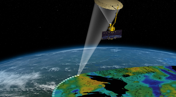 Artist's rendering of the Soil Moisture Active Passive satellite. The width of the region scanned on Earth's surface during each orbit is about 620 miles. (Image: NASA/JPL-Caltech)