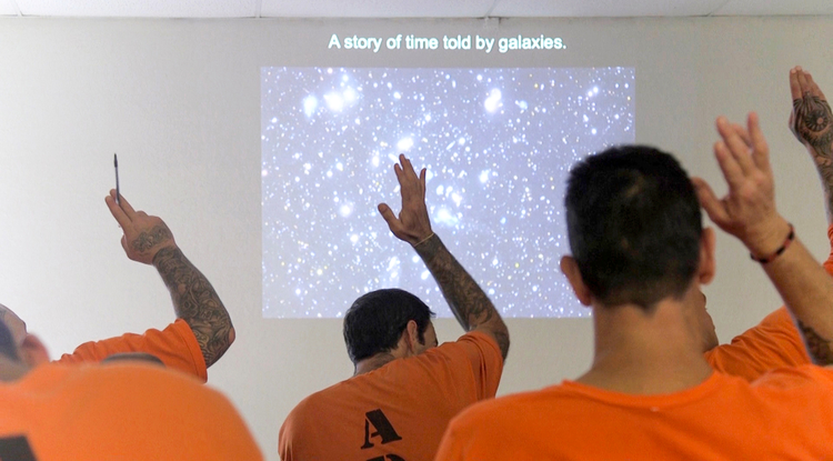 Incarcerated students at the Rincon unit of the state prison complex attended a class led by astronomy professor Ed Prather in November. (Photo: Arlene Islas/University Communications)