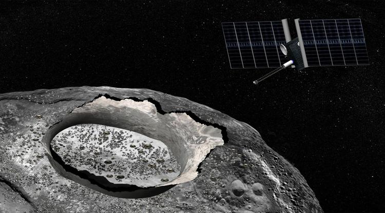 Ilustración de artista de una nave espacial en Psyche, una misión propuesta dentro del programa Discovery de NASA que exploraría el enorme asteroide de metal desde órbita. Crédito: NASA/JPL-Caltech.