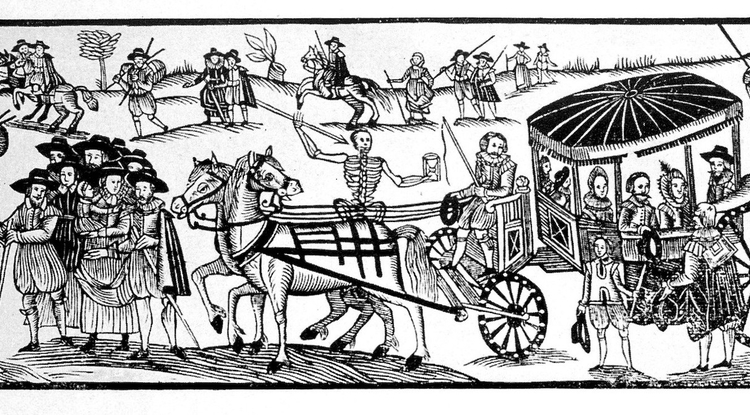 """Runaways fleeing from the plague,"" a woodcut from 'A Looking-glasse for City and Countrey,' printed by H. Gosson in 1630. Ute Lotz-Heumman, director of the UArizona Division for Late Medieval and Reformation Studies, said that when rich people can leave town to flee a pandemic, either now or in the past, you immediately have a social divide. (Credit: Wellcome Images)"