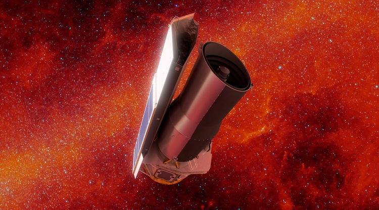 In this artist's rendering of NASA's Spitzer Space Telescope in space, the background is shown in infrared light. (Image: NASA/JPL-Caltech)