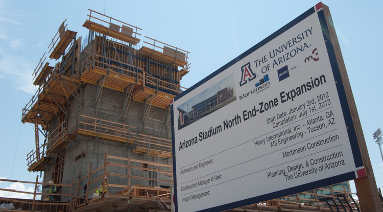 The Arizona Stadium north end-zone expansion construction site.