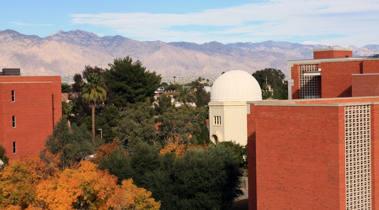 The Steward Observatory is nestled in a lush grove of old trees directly behind the Sonett Space Sciences Building.