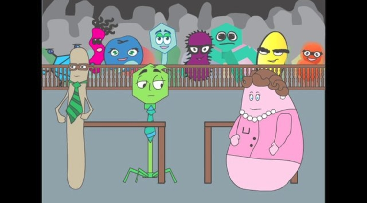 In the video, cartoon characters playing parts in a murder trial portray microbes and viruses fighting for survival in the ocean.