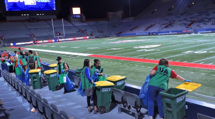 More than 100 students took part in this year's Zero-Waste Challenge, collecting more than 3.8 tons of recycling and more than 800 pounds of compostable materials. (Photo: Ryan Dotson)