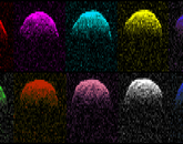 Pop radar! Doppler images, presented in the style of Andy Warhol, show views of asteroid 1999 RQ36 from Earth. (Image: NASA/JPL/Goldstone)