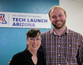 From the left: TLA Licensing Manager for the College of Optical Sciences Amy Phillips and Urbix CEO Adam Small. Photo: Paul Tumarkin/Tech Launch Arizona