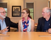 UA President Robert C. Robbins (right) meets with Pulitzer Prize-winning photographer David Hume Kennerly and his wife, Rebecca Soladay Kennerly. Robbins announced that Kennerly would be the university's first-ever Presidential Scholar. (Photo: Chris Richards)
