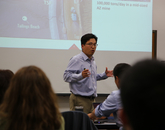 Minkyu Kim, assistant professor of materials science and engineering and biomedical engineering and inventor of the new biocompatible polymer, gives his pitch during the TLA I-Corps program. Photo credit: Paul Tumarkin/Tech Launch Arizona