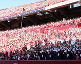 The Pride of Arizona, the UA's marching band, performs during the game.