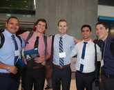 Students are, from left, Francisco J. Canales, Julius Grecu, Andrew Albert, Antoine Azar, Paul Heller.
