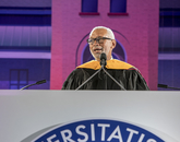 """""""It's your generation that's going to land humans on Mars. That's an amazing thing to contemplate. The feet in the first boots on the Red Planet could be here in this ceremony tonight,"""" said Maj. Gen. Charles F. Bolden Jr., UA Commencement keynote speaker. """"Your generation, the Mars Generation, is also going to take the data from the amazing fleet of Earth observation satellites flying overhead to help humanity solve the challenges we face from climate change."""""""