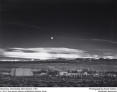 """""""Moonrise, Hernandez, New Mexico"""" by Adams, taken in 1941. The photo is one of Adams' most popular images."""