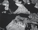 """""""Grand Canyon from the South Rim, Arizona"""" was taken by Adams in about 1942. Adams was invited the previous year by Secretary of the Interior Harold Ickes to capture large-scale mural prints."""