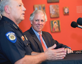 UAPD Chief Brian Seastone (left) and UA President Robert C. Robbins also spoke at the news conference. Seastone was on the UAPD force when the painting was stolen. (Photo: John de Dios/UANews)