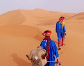 Raven Raines, a senior studying marketing, takes a break from her CEA Barcelona internship to snap this photo of Moroccan men leading camels through the Sahara Desert.