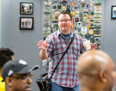Michael Hartley of the UA Disabilities Resource Center welcomes veterans to a treasure hunt session at the Student Union Memorial Center.