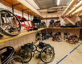 Sports chairs and other equipment are stored and made ready at the UA Student Recreation Center for members of the camp.