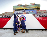 Marcus Holt, a business management student, takes a selfie by the UA seal with friends Alexis Karlin, a marketing graduate from New Jersey; Brianna Celez, a public policy and management graduate; and Sydnie Jones, who completed degrees in communication and public policy. (Photo: John de Dios/UA News)