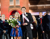 More than 50 are nominated for Homecoming queen, and they are narrowed to five finalists through a campuswide vote. For the last quarter-century, the crowning of the king and queen has been part of the Homecoming bonfire celebration on Friday night.