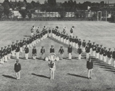 The UA's marching band in formation A for the 1952 yearbook.